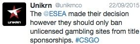 Unikrn speak out about ESEA betting ban