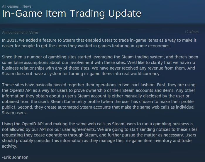 Valve Statement Shutting Down CSGO Skin Betting